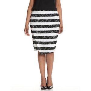 Lane Bryant Lace Skirt Black White Stripe, Size 24